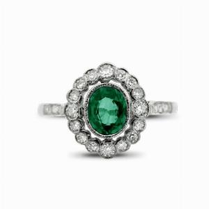 Emerald & Diamond Cluster Ring - 1.00ct